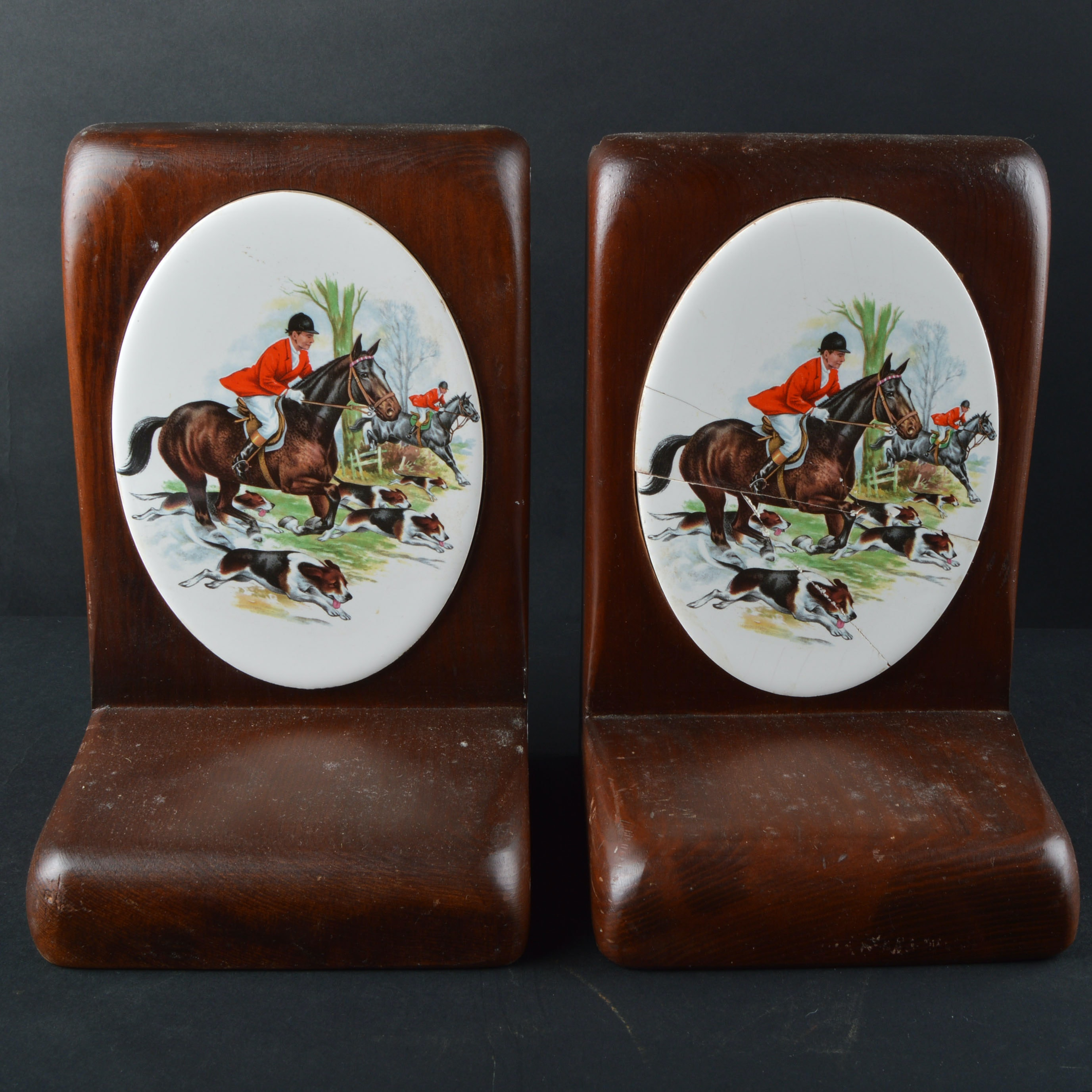 Pair of Wood and Porcelain Bookends