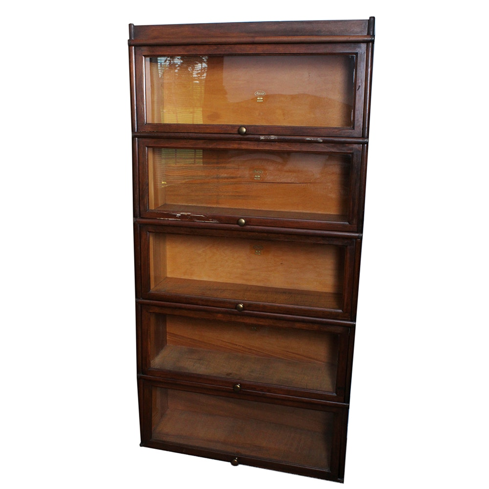 Five Unit Vintage Stacking Barrister Bookcase by Macey