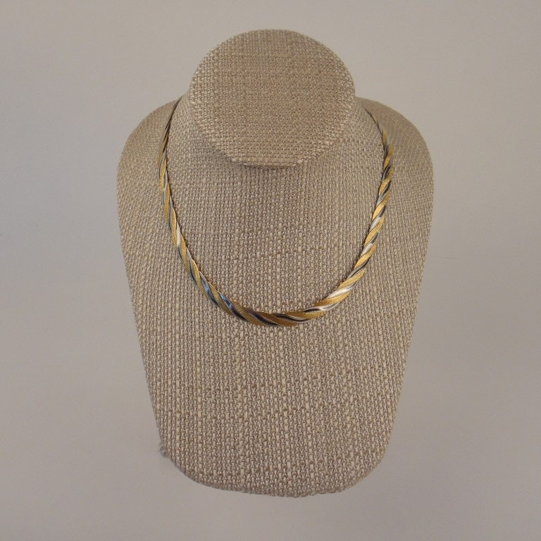"""14k Woven White and Yellow Gold 18"""" Necklace"""