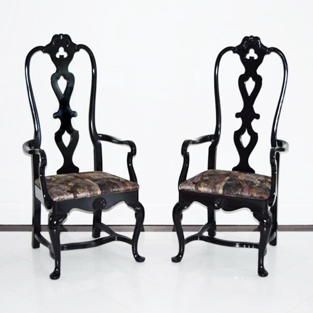 Pair Of Contemporary Phyllis Morris Custom Queen Anne Inspired Arm Chair In  High Gloss Black Finish ...
