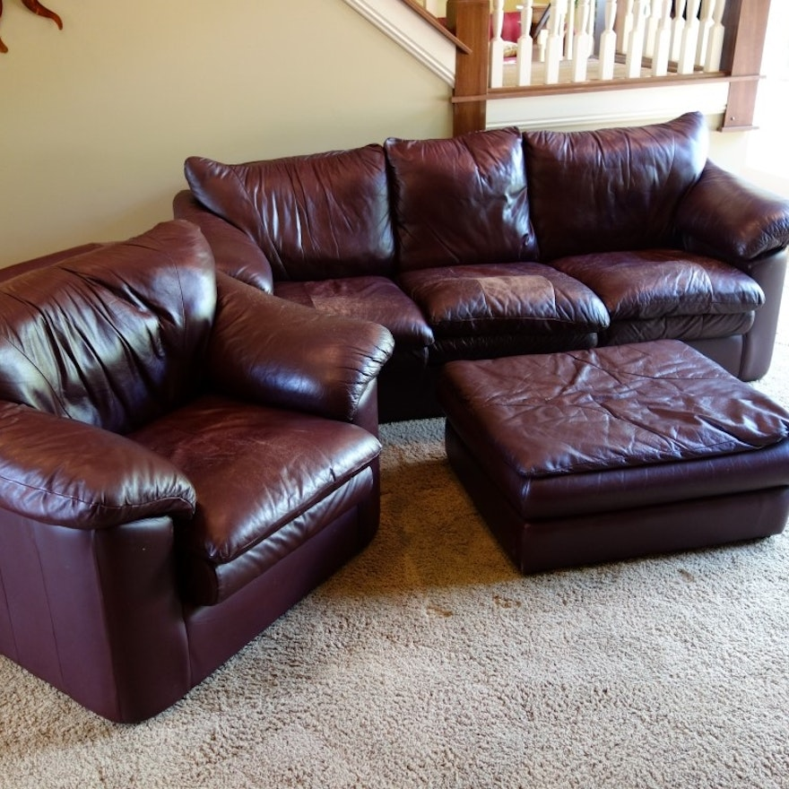 Leather Trend Sofa Chair And Ottoman Set