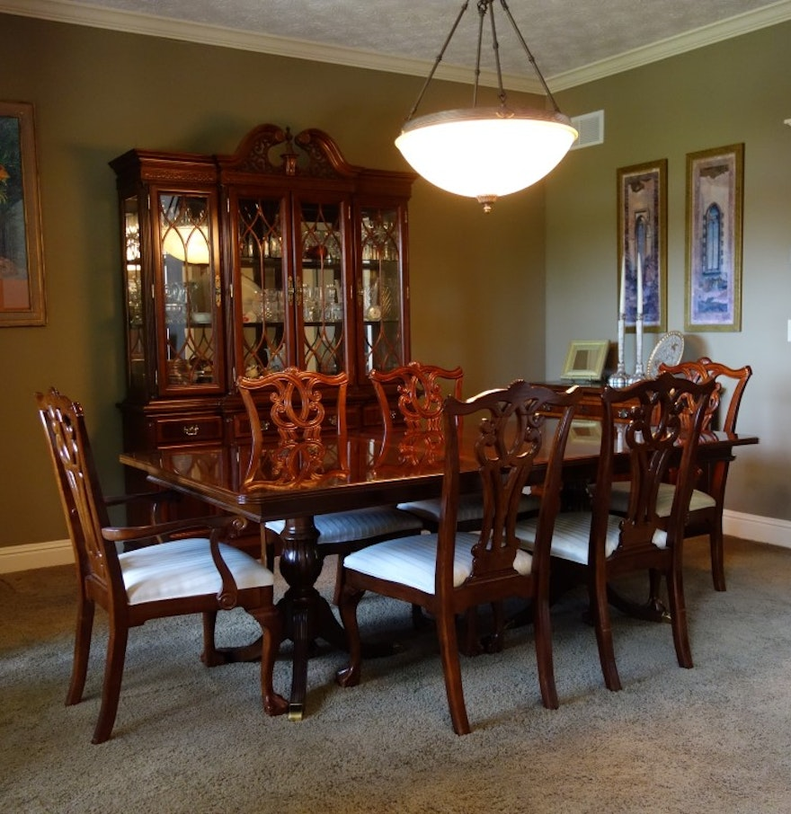 Universal furniture chippendale style dining table and six for Universal dining room furniture