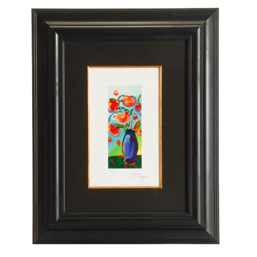 Peter Max Signed Limited Edition Embossed Serigraph Vase Of Flowers