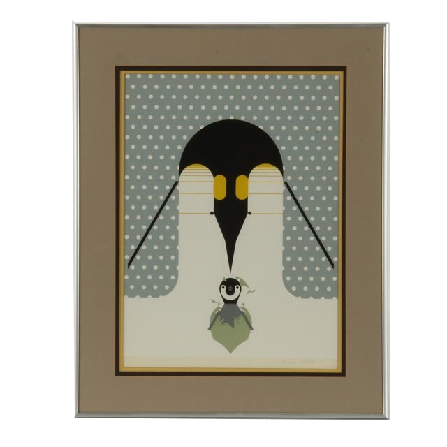 """Charley Harper Signed Limited Edition Serigraph """"Br-r-r-r-rthday"""""""