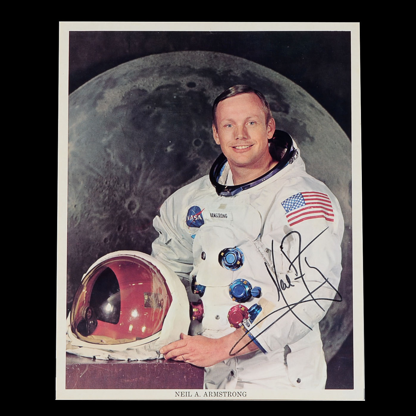 Neil Armstrong Signed Color Photo With Certificate Of Authencity