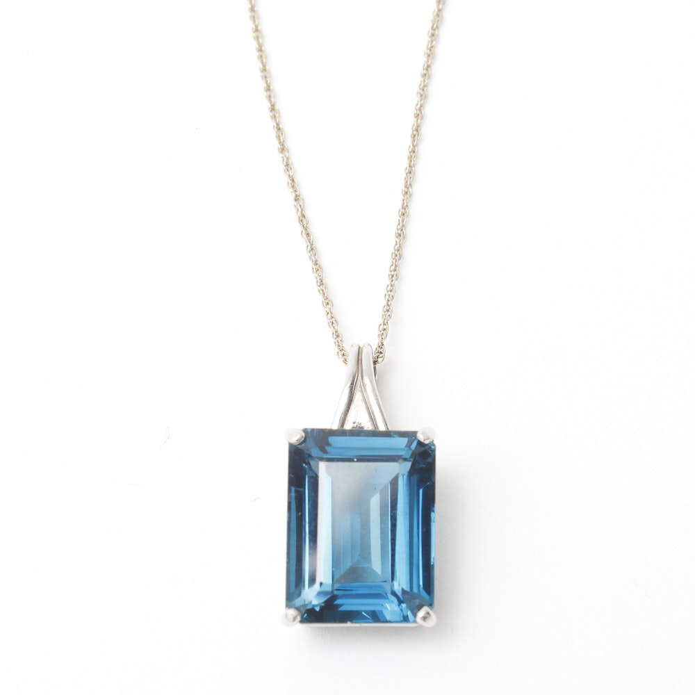 Blue Emerald Cut Pendant Necklace Designed by Gial Denny