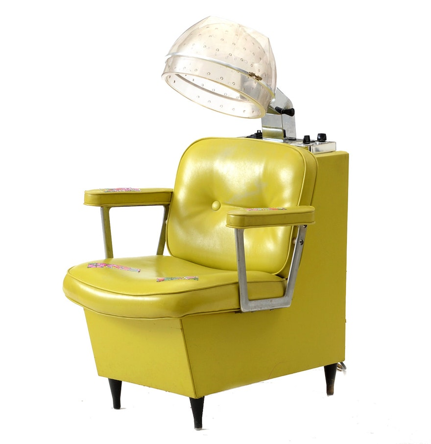 Fabulous vintage lime green elegant first lady salon hair dryer chair by belvedere ebth - Salon chair with hair dryer ...