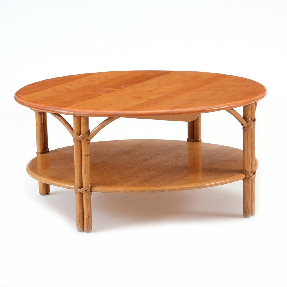 "mid century heywood wakefield round ""ashcraft"" coffee table : ebth"