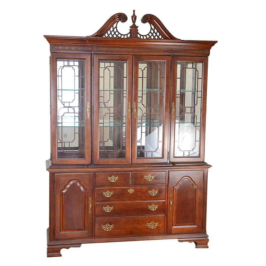Solid Cherry Open Home Illuminated China Cabinet By Stanley Furniture Ebth