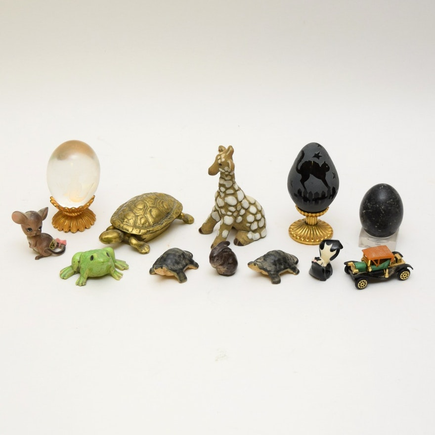 Miniature Animal Figurines and Polished Eggs