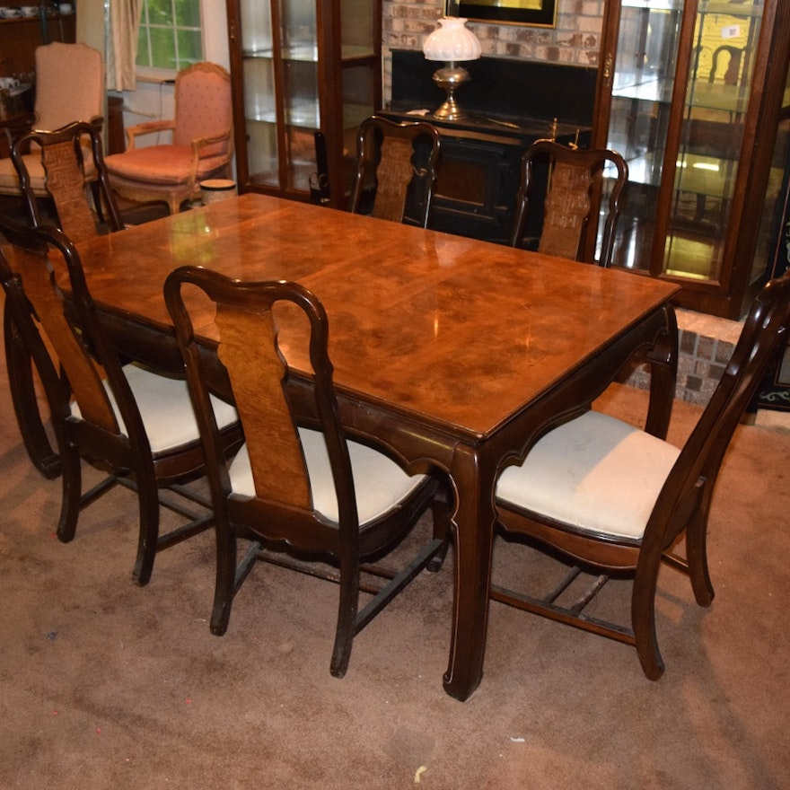Vintage Asian Influenced Dining Room Table and Six Matching Chairs