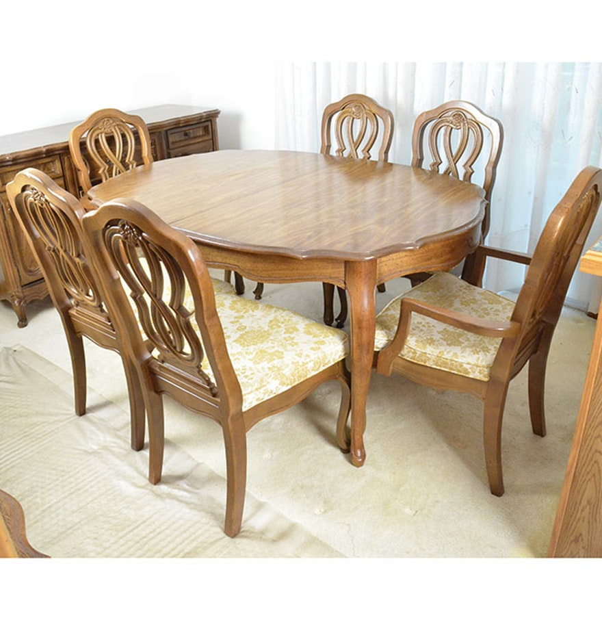Bassett oak finished dining room table set ebth for Oak dining room table