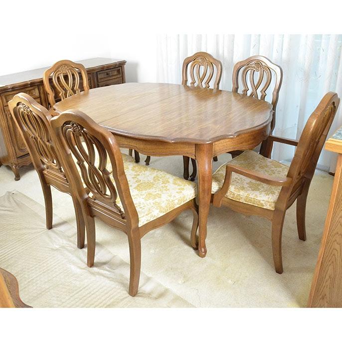 Bassett Oak Finished Dining Room Table Set ...