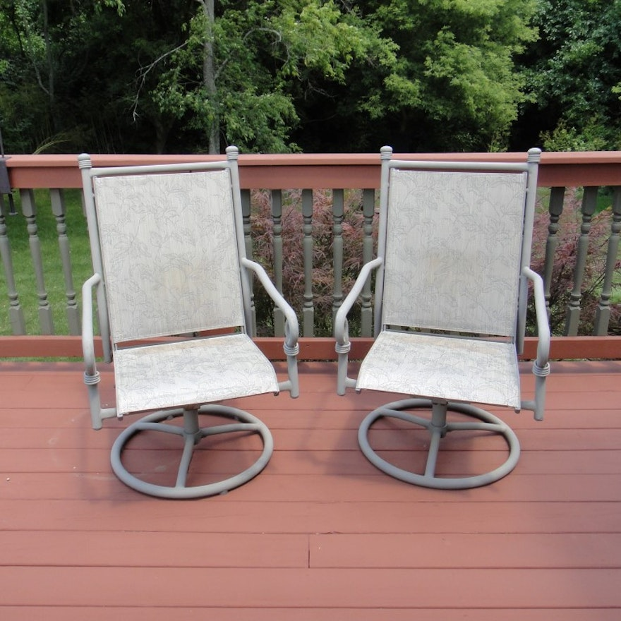 Marvelous Two Coleman Patio Swivel Rockers Bralicious Painted Fabric Chair Ideas Braliciousco