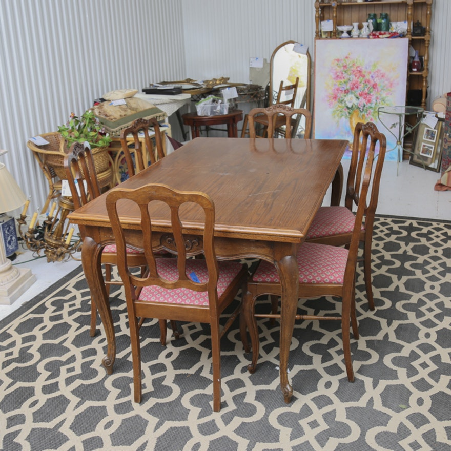 Antique Oak Dining Room Furniture: Antique Oak Dining Room Table And French Pierre Duex
