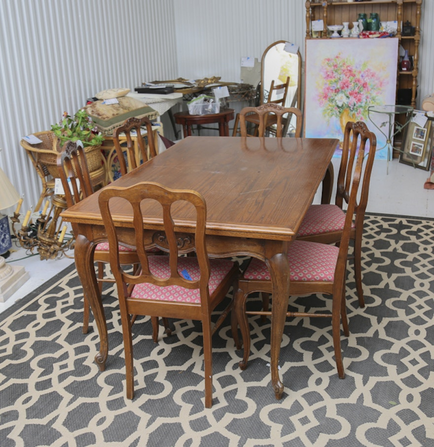 Antique Oak Dining Room Table and French Pierre Duex Chairs : EBTH