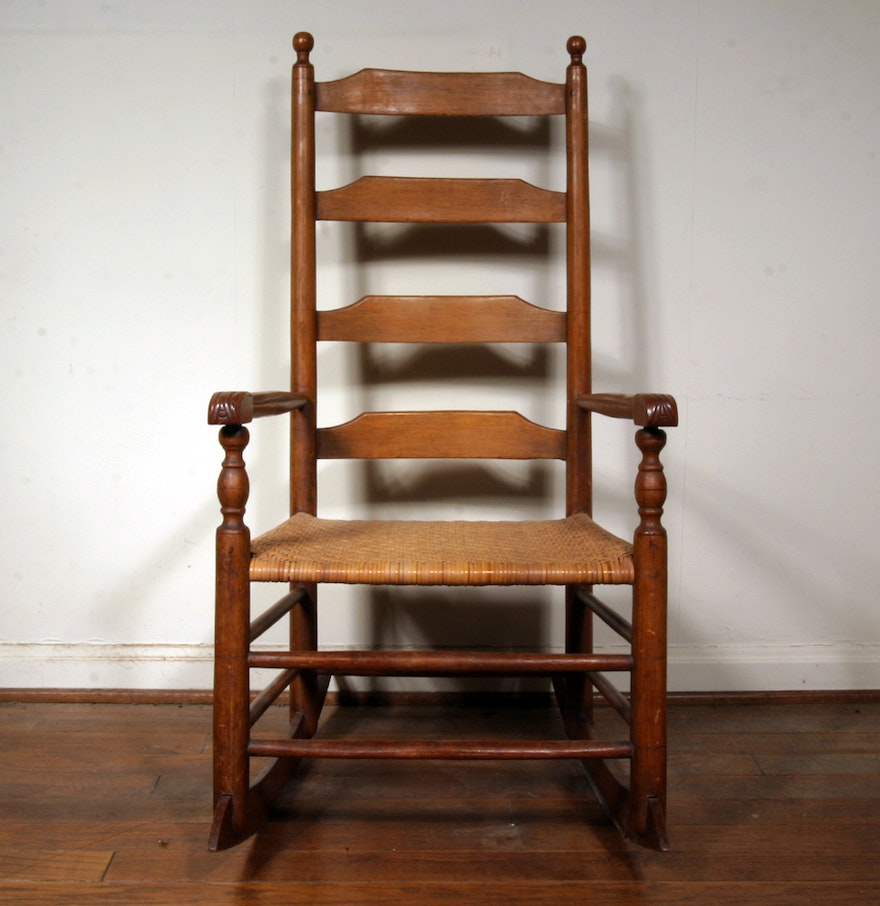 Antique Oak Ladder Back Rocking Chair with Woven Seat : EBTH