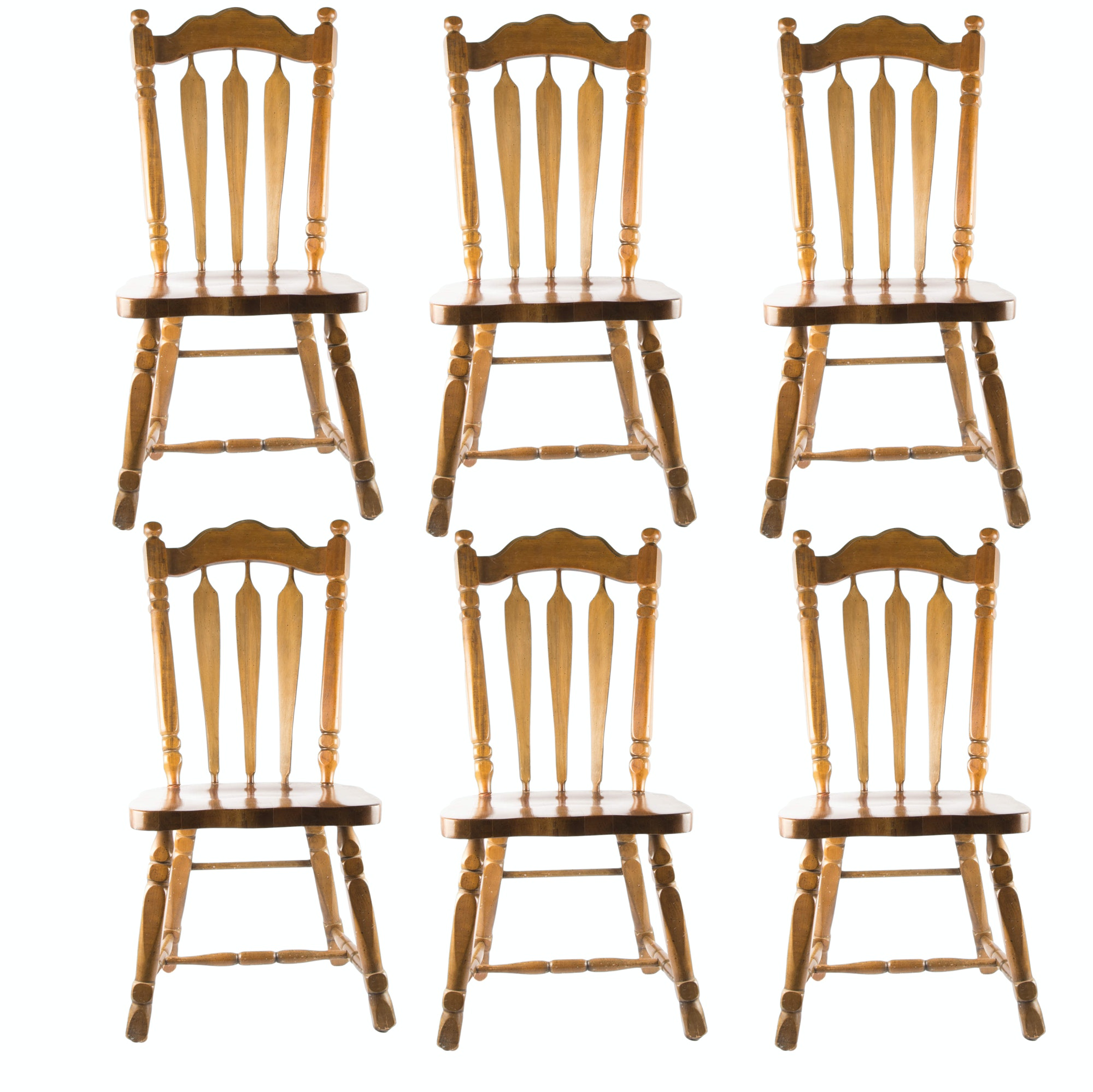 Early American Dining Room Furniture: Set Of Six Early American Dining Room Chairs : EBTH
