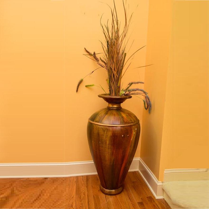 distressed wooden floor vase with dried flower arrangement - Wooden Floor Vase