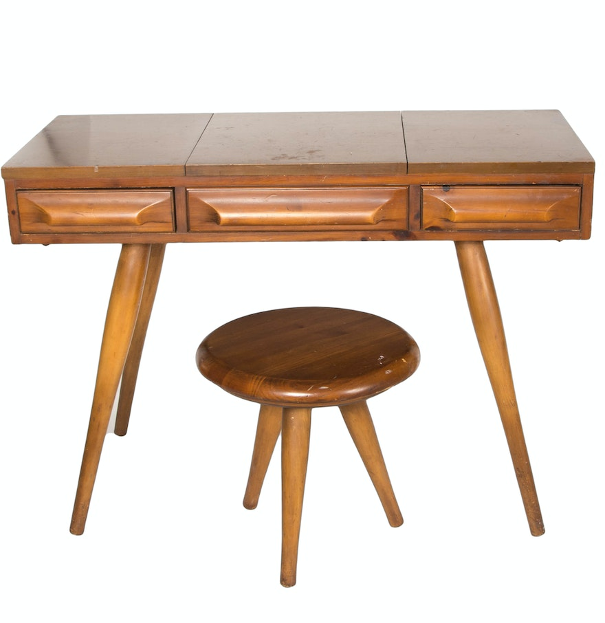 Country crafted wooden chair and stool ebth - Franklin Shockey Mid Century Pine Vanity With Stool