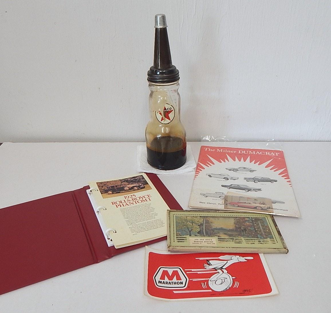 Texaco Glass Oil Bottle Motor Accessories Ebth