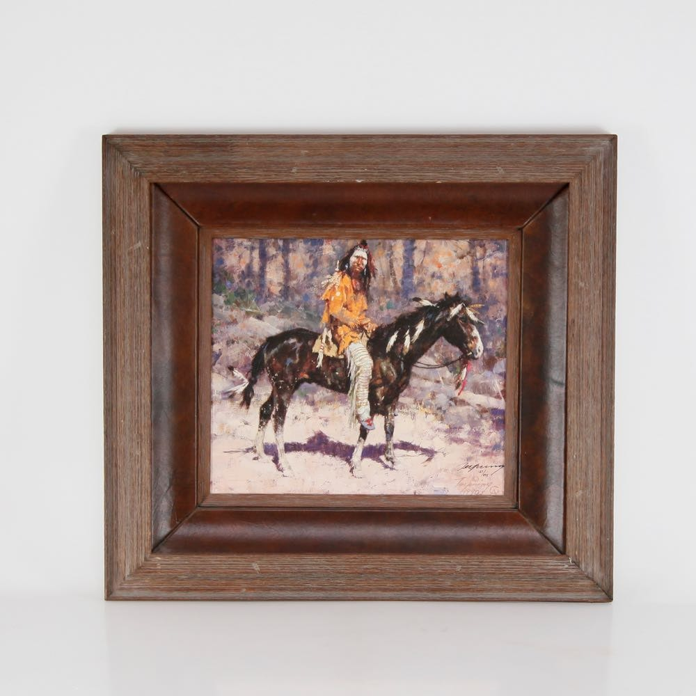 """Howard Terpning Signed Limited Edition Giclée """"Horse Feathers"""""""