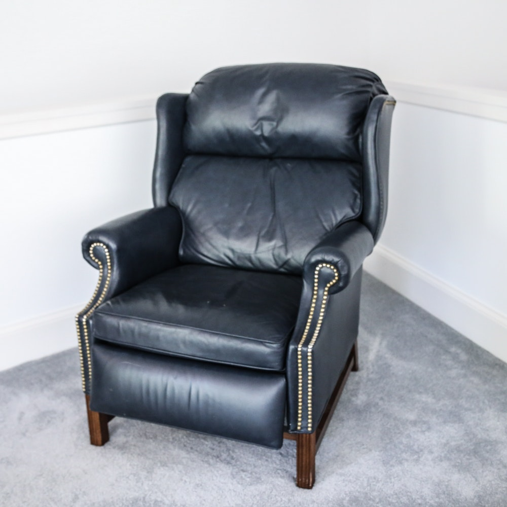 Navy Leather Wingback Recliner with Nailhead Trim ... & Navy Leather Wingback Recliner with Nailhead Trim : EBTH islam-shia.org