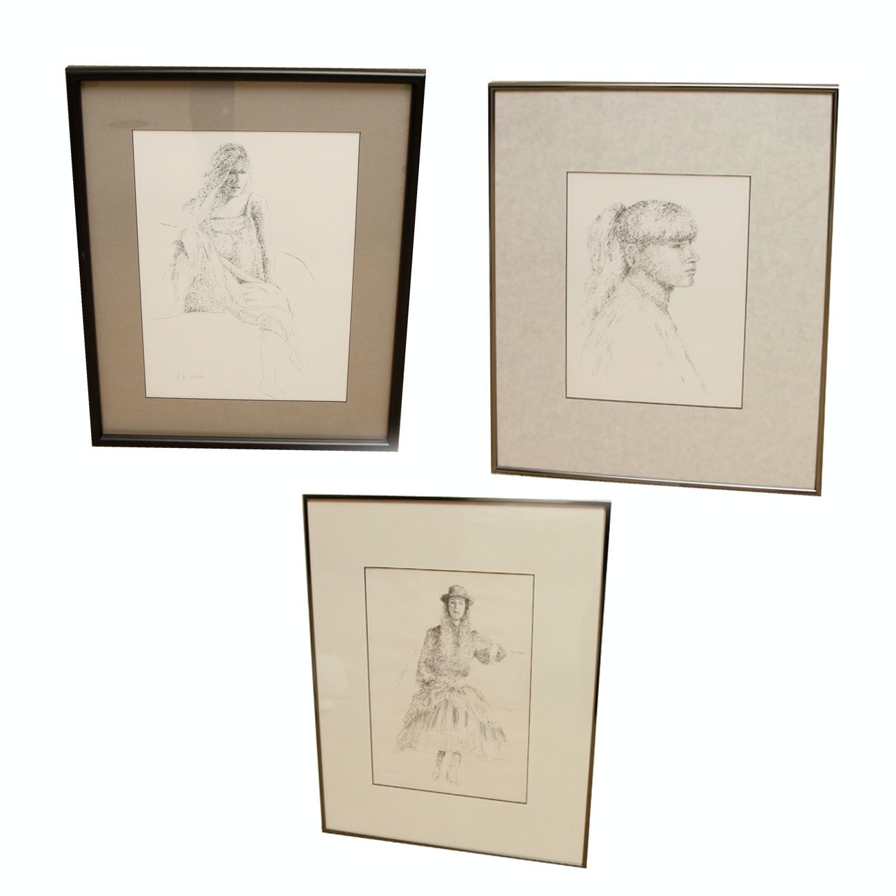 Framed Original Drawings of a Woman by A.W. White