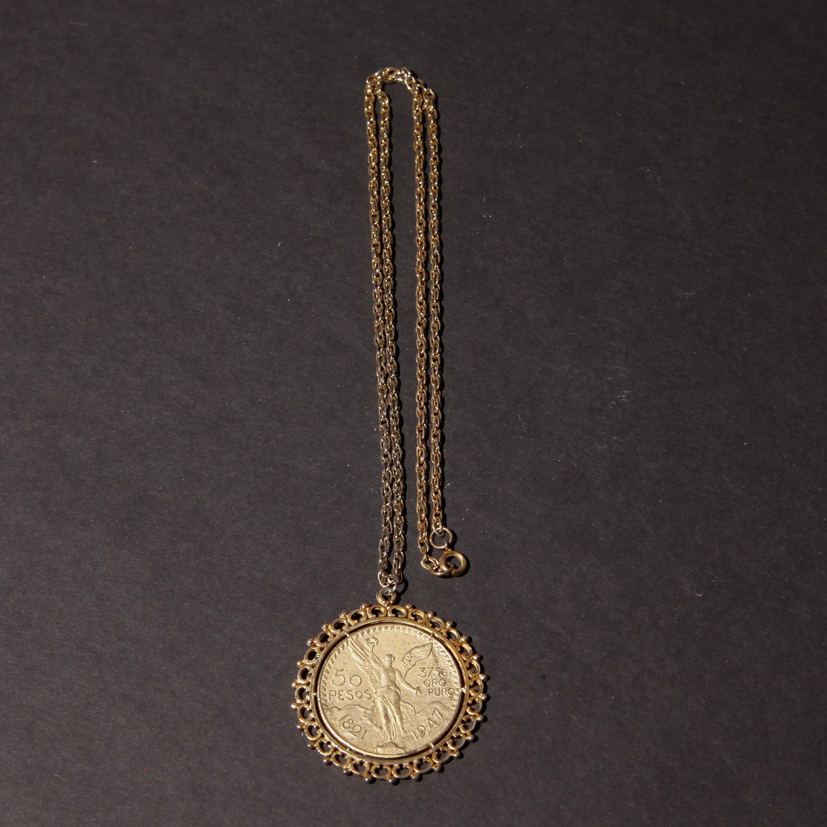 1947 Mexico 50 Pesos Gold Tone Necklace