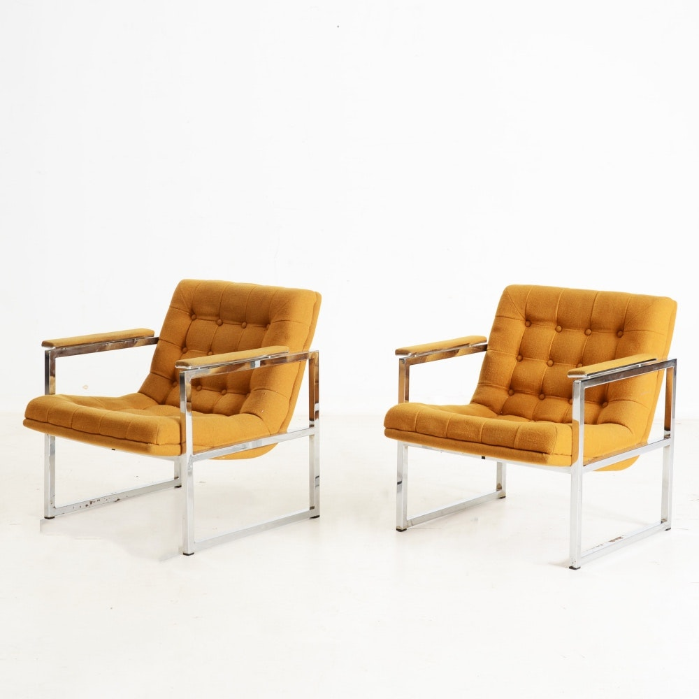 Pair of Chromecraft Upholstered Lounge Chairs