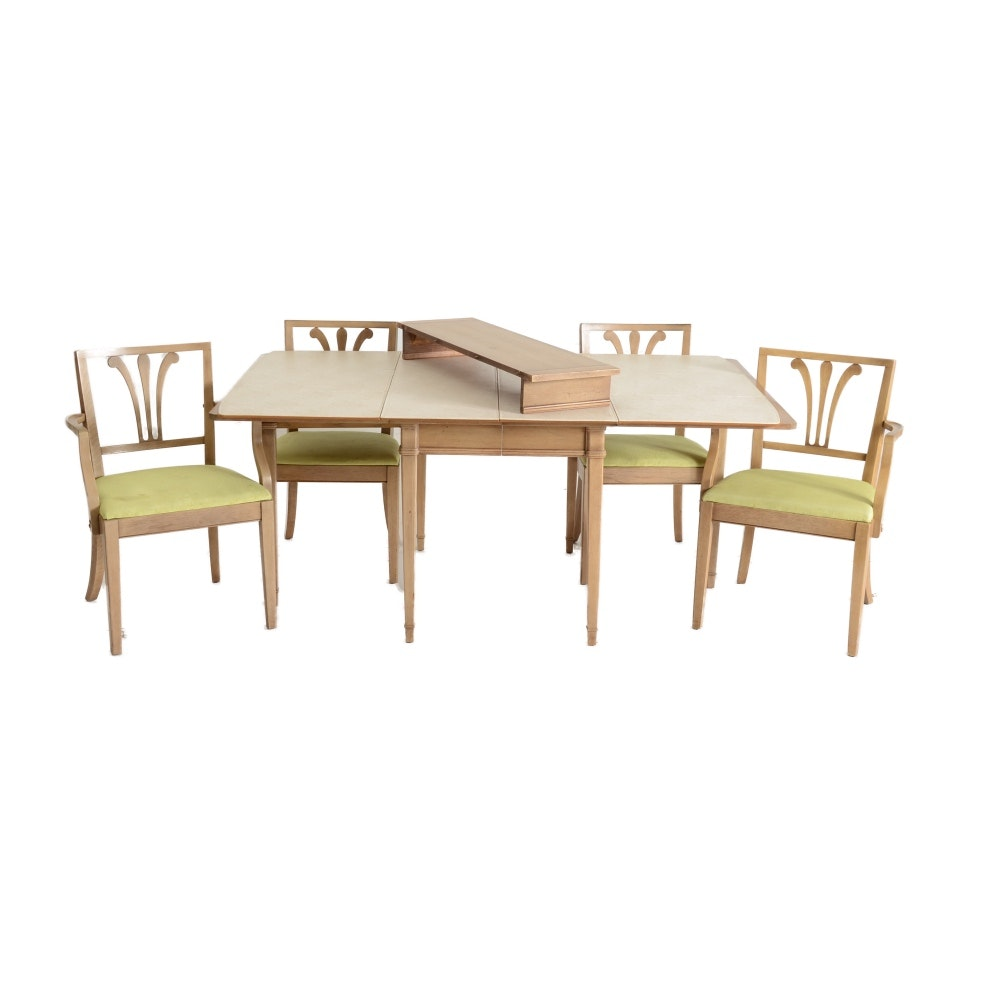 Drexel Blonde Finish Walnut Veneer Drop-Leaf Dining Table and Chairs