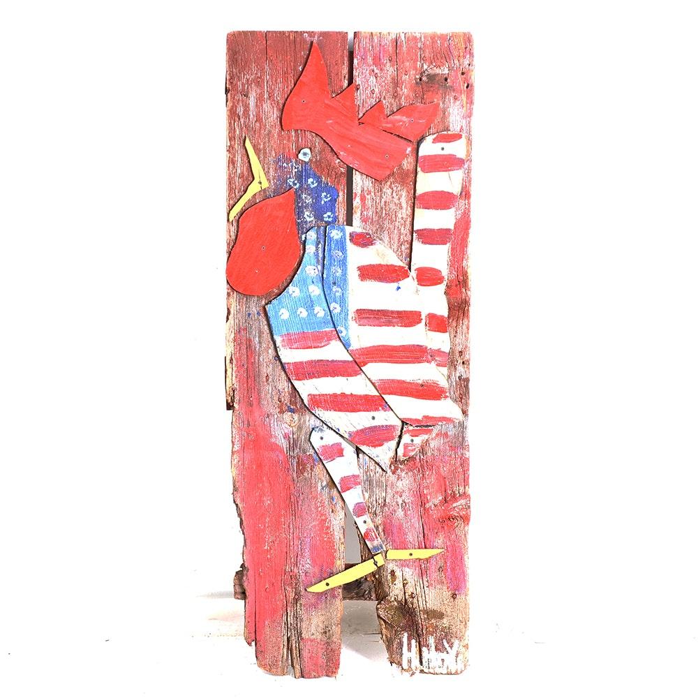 Mike Heavy Hefner Folk Painting on Wood