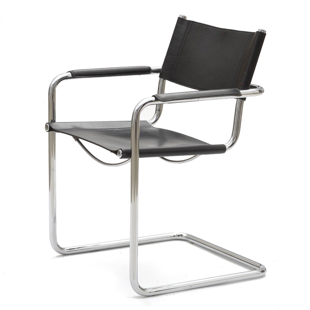 Matteograssi Leather And Chrome Arm Chair ...