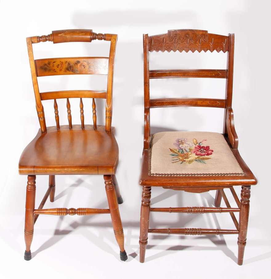 Grouping of two decorative carved wooden chairs ebth for Carved wooden chaise