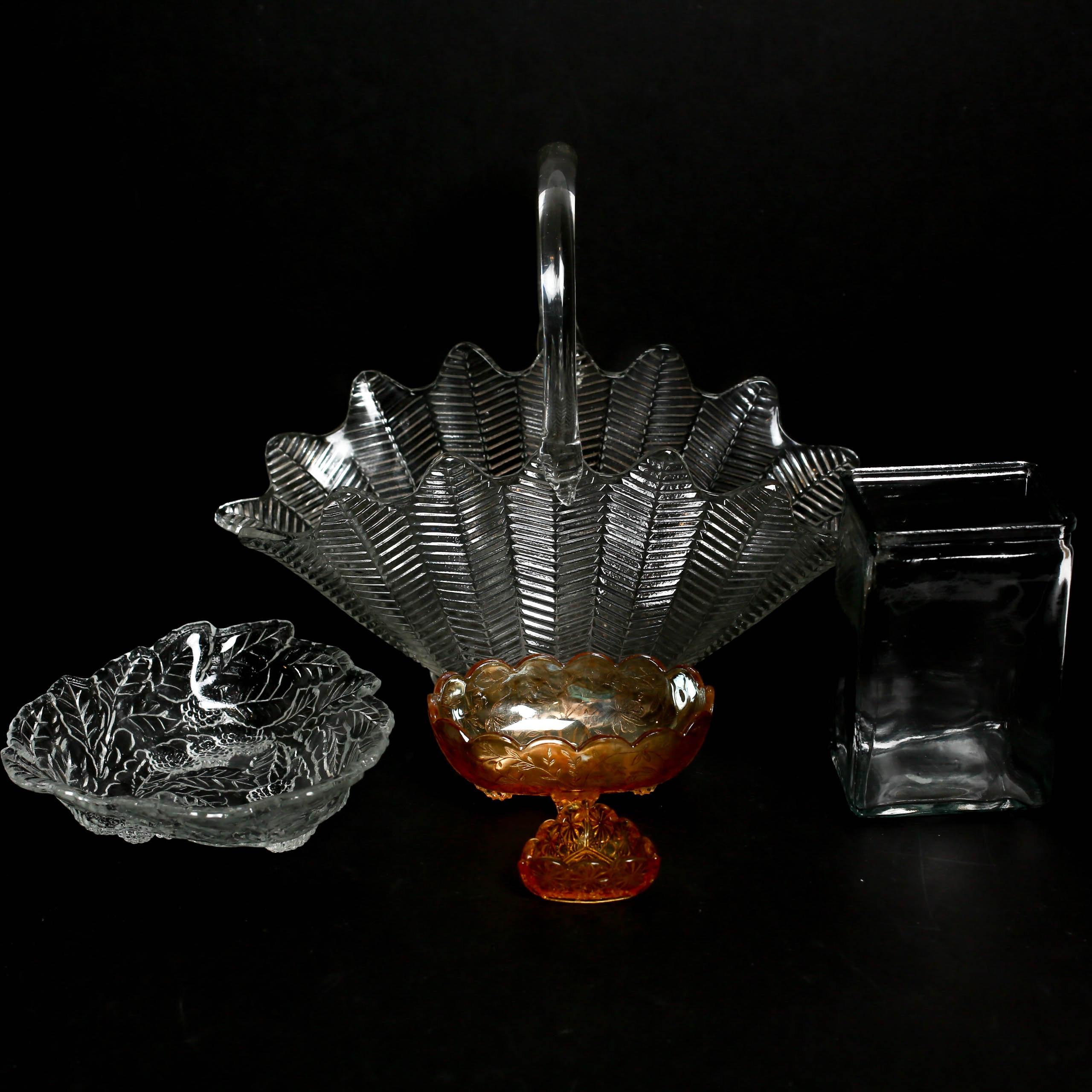 Assortment  of Pressed Glass Vessels