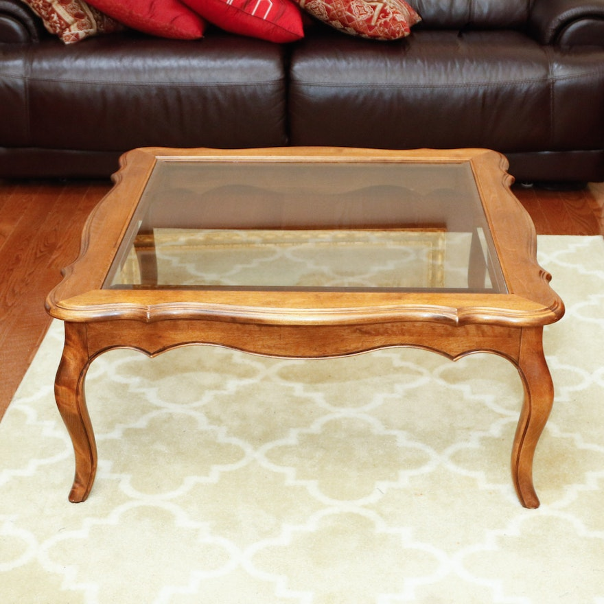 "Ethan Allen Coffee Table Glass Top: Ethan Allen ""Country French"" Coffee Table"