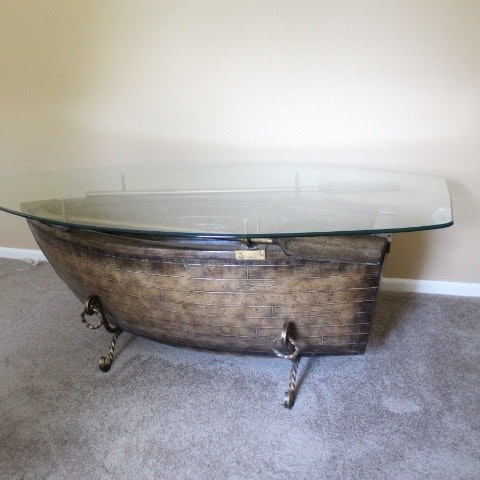 Glass Top Rowboat Table With Wrought Iron Base ...