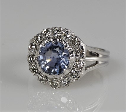 GIA Certified Natural Sapphire, Diamond, and 14K White Gold Ring