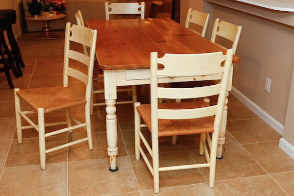 Ethan allen farm table and six rush seat chairs ebth for Farm table seats 12