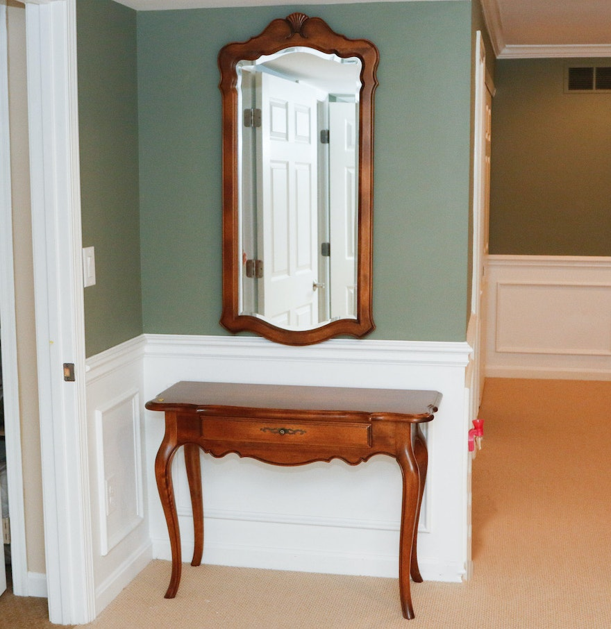 "Ethan Allen New Country Coffee Table: Ethan Allen ""Country French"" Console Table And Mirror : EBTH"