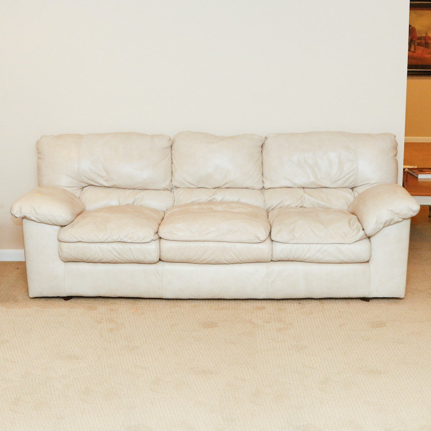 Viewpoint Leather Works Cream Sofa 1