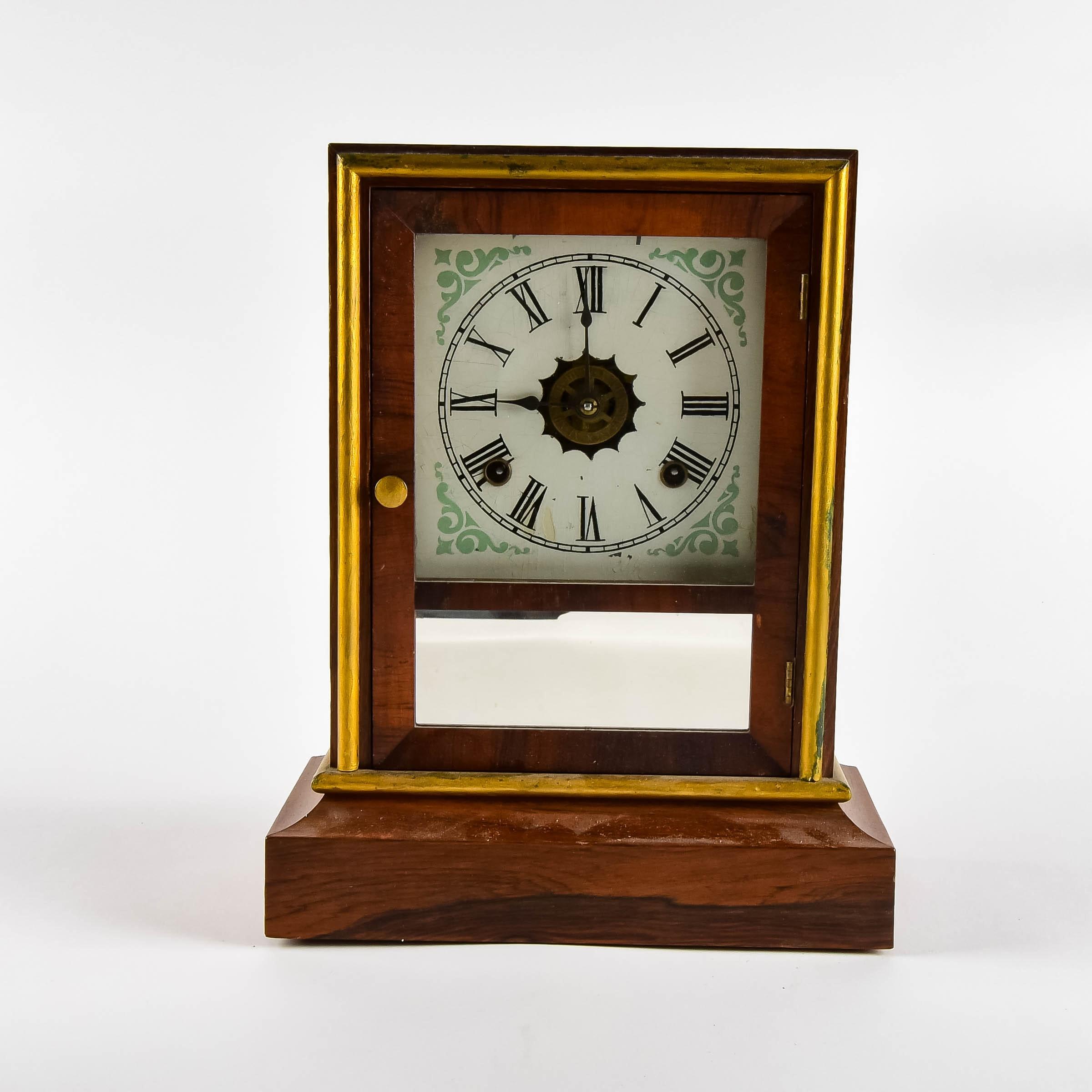 Antique Mahogany Mantel Clock
