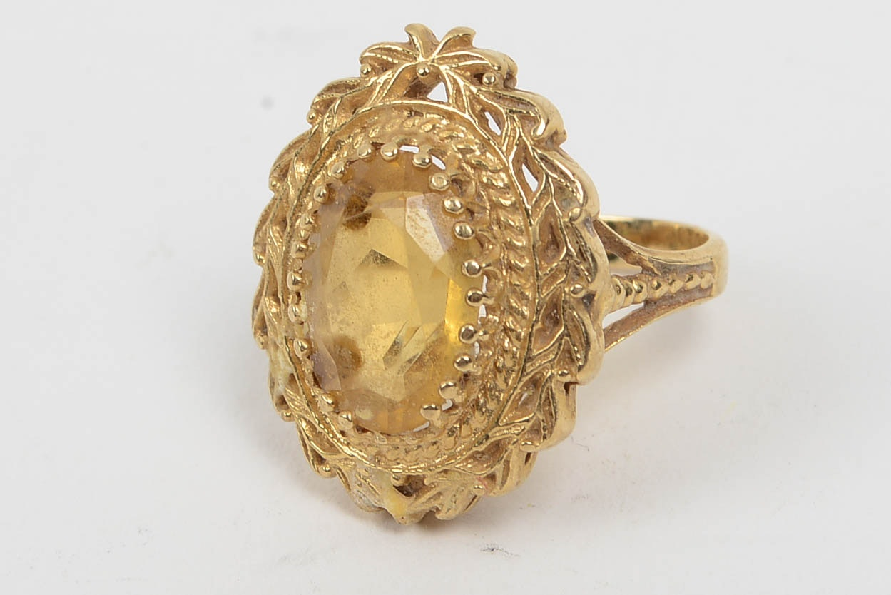 14K Yellow Gold and Citrine Ring
