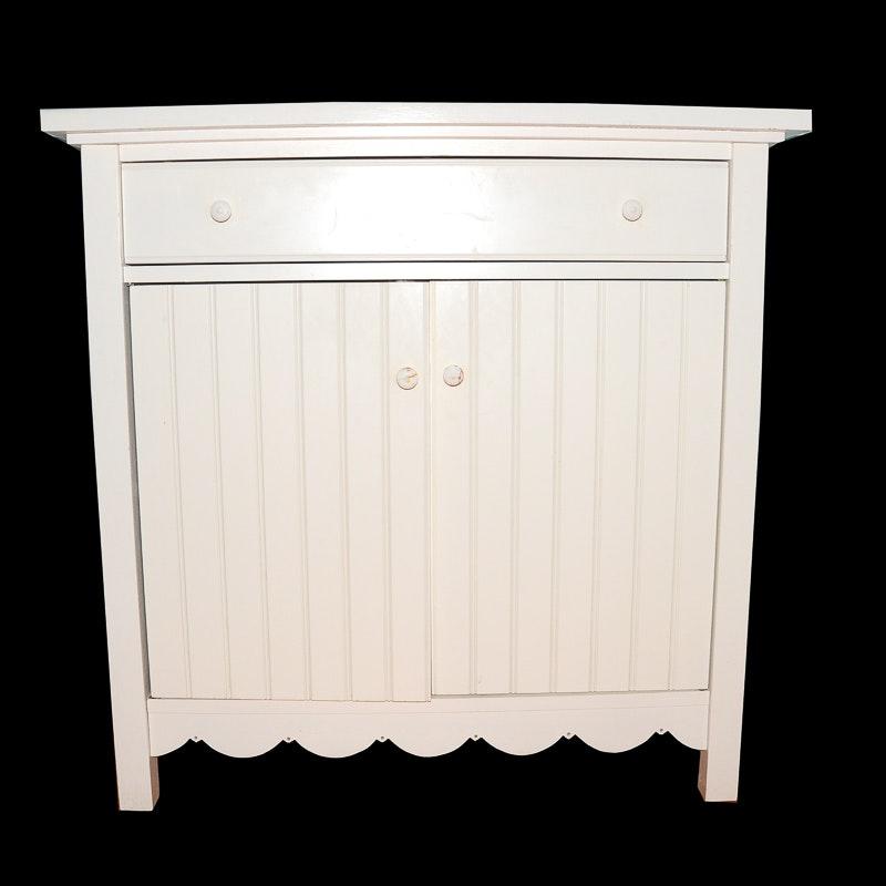 White Wooden Crate Barrel Bathroom Cabinet Ebth