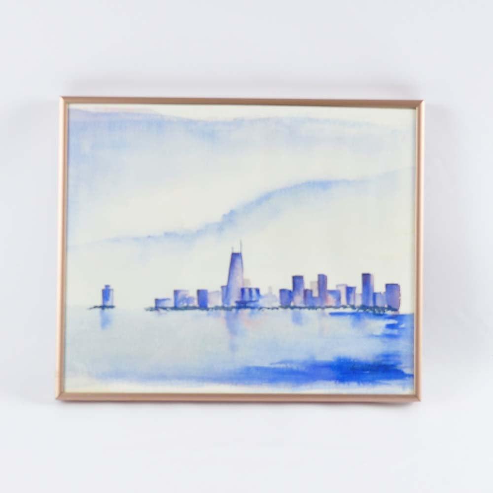 Original Watercolor of Chicago Skyline