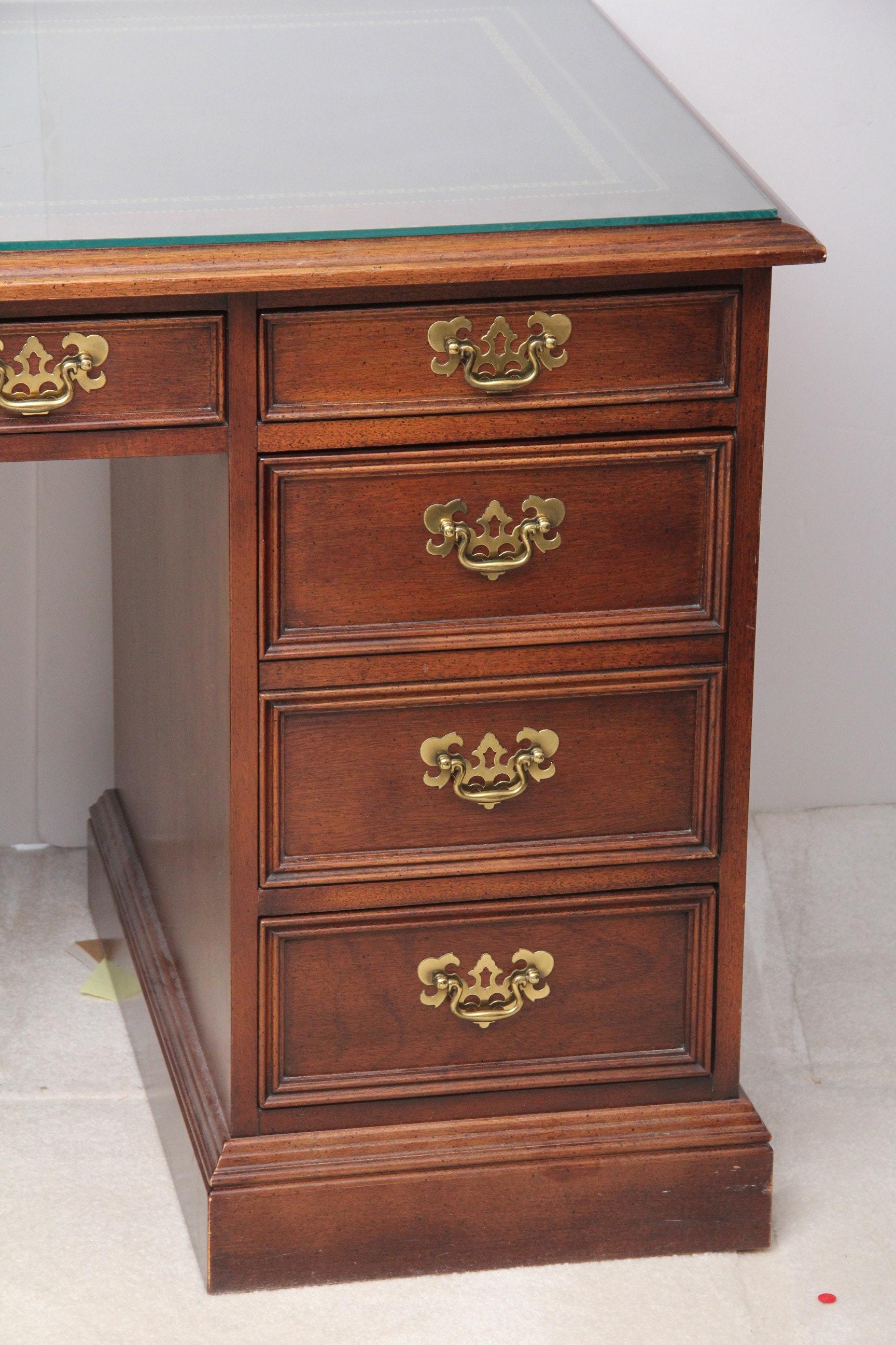 Vintage Wood Veneer Desk With Leather Panel Top Ebth