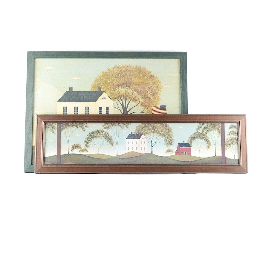 pair of warren kimble american folk art prints : ebth