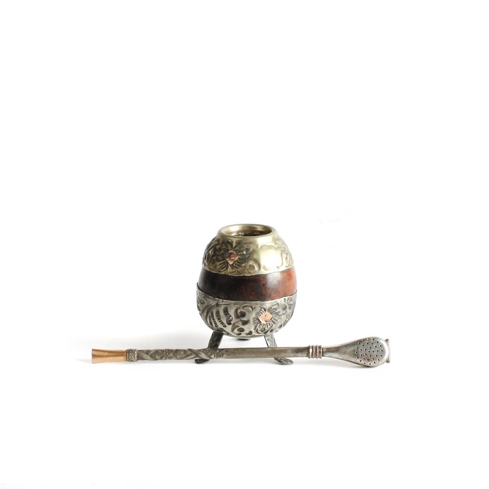Antique Alpaca Silver and 18K Gold Yerba Mate Tea Cup with Bombilla