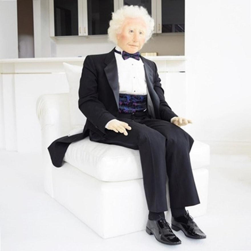 """Original Soft Sculpture Named """"Sam"""", Dressed in a Tuxedo"""