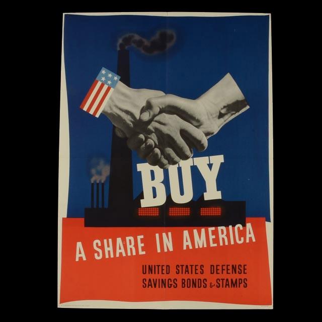 OriginalVintage 1941 World War II Bonds Poster